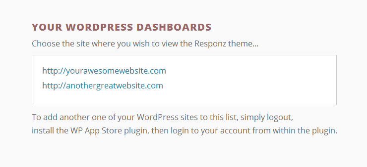 This page allows you to select one of your WordPress websites.