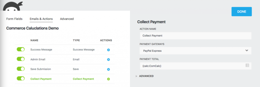 Ninja Forms Collect Payment action