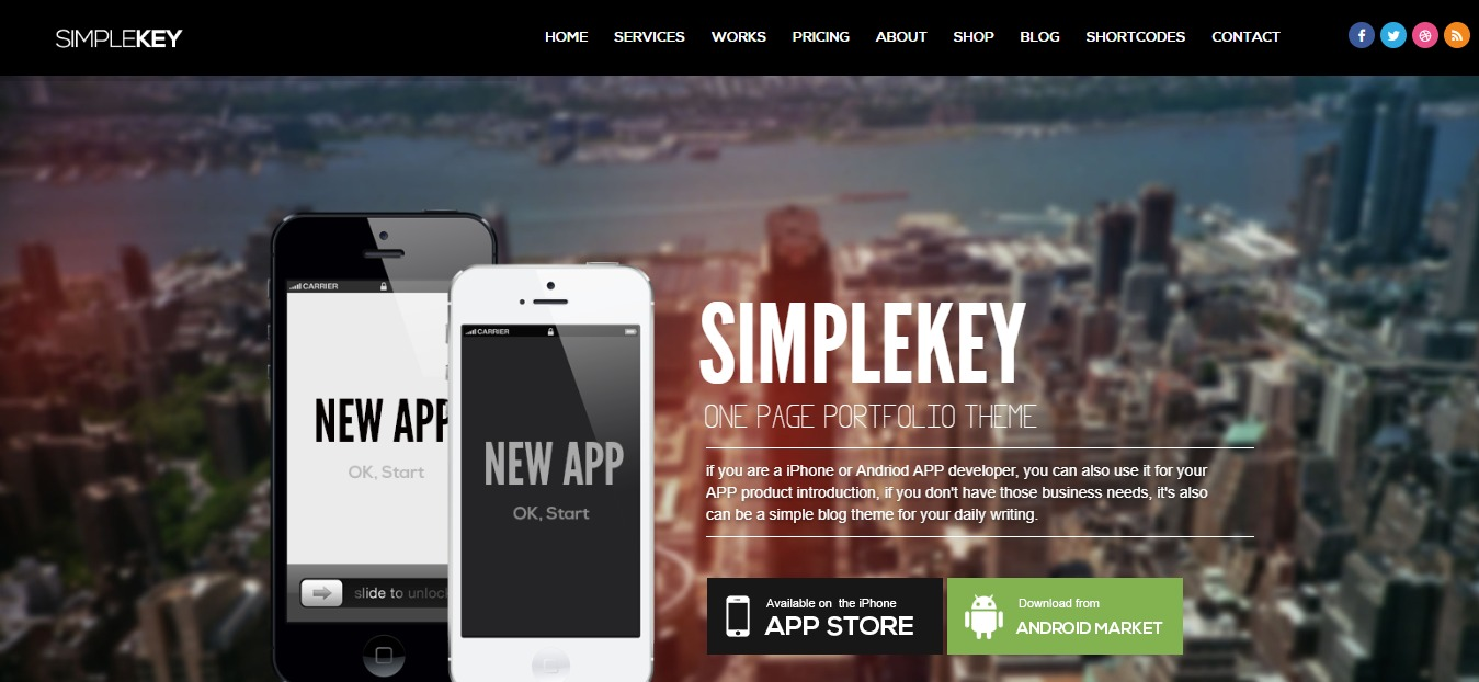 simplekey one page wordpress theme