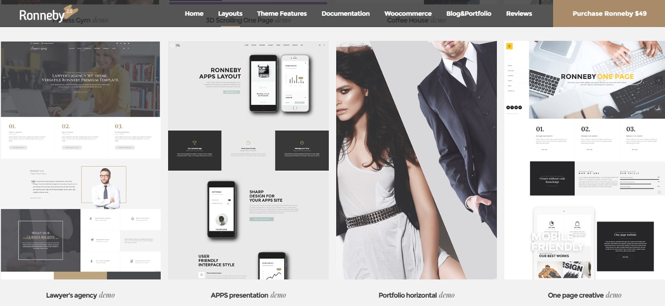 top one page wordpress themes ronneby