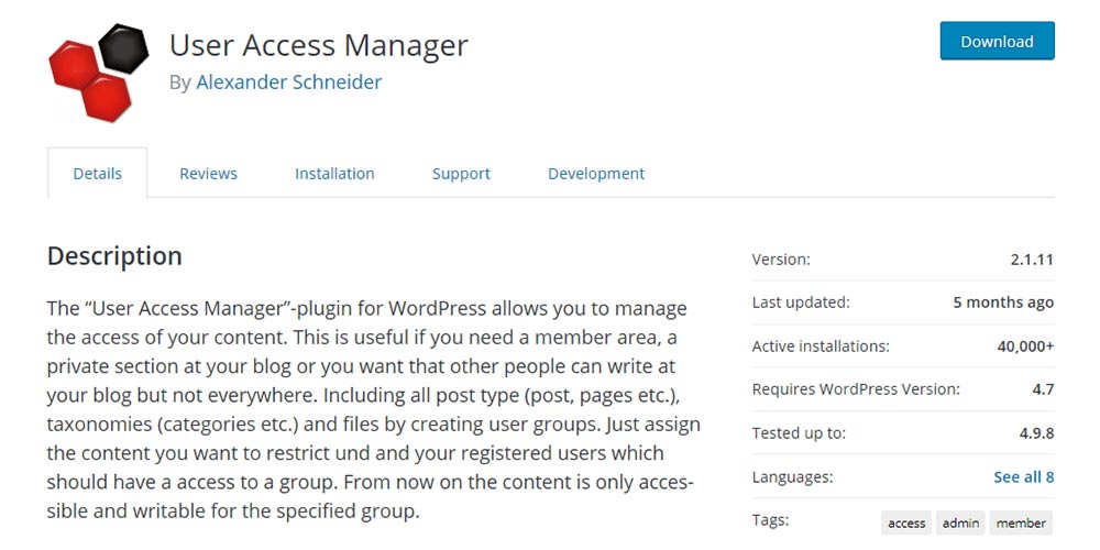 User Access Manager WordPress membership plugin banner