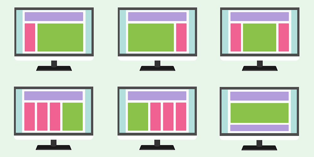 Illustration of various website layouts
