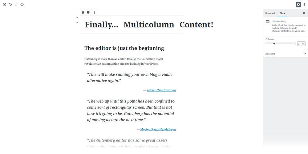 Gutenberg columns block