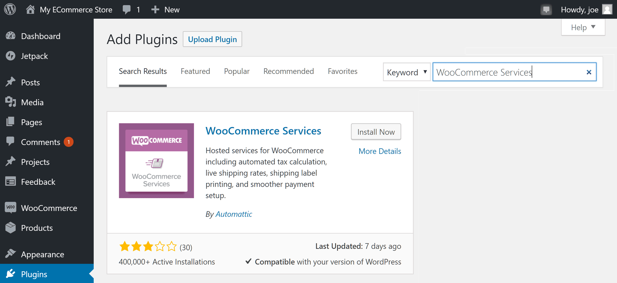 Add WooCommerce Services