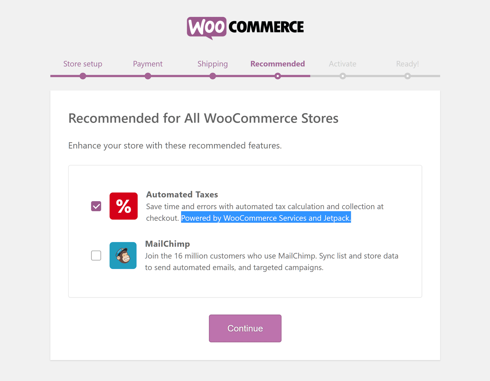 Enable WooCommerce Services