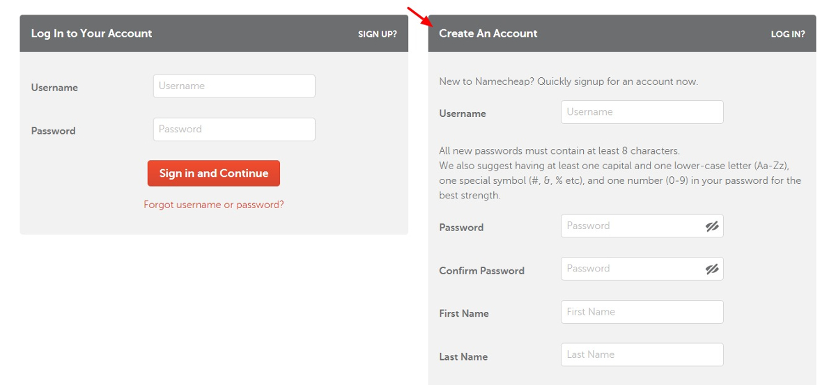 namecheap account registration form