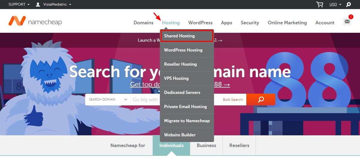 buy shared hosting from namecheap