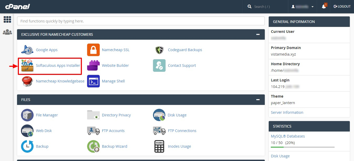 cpanel main page