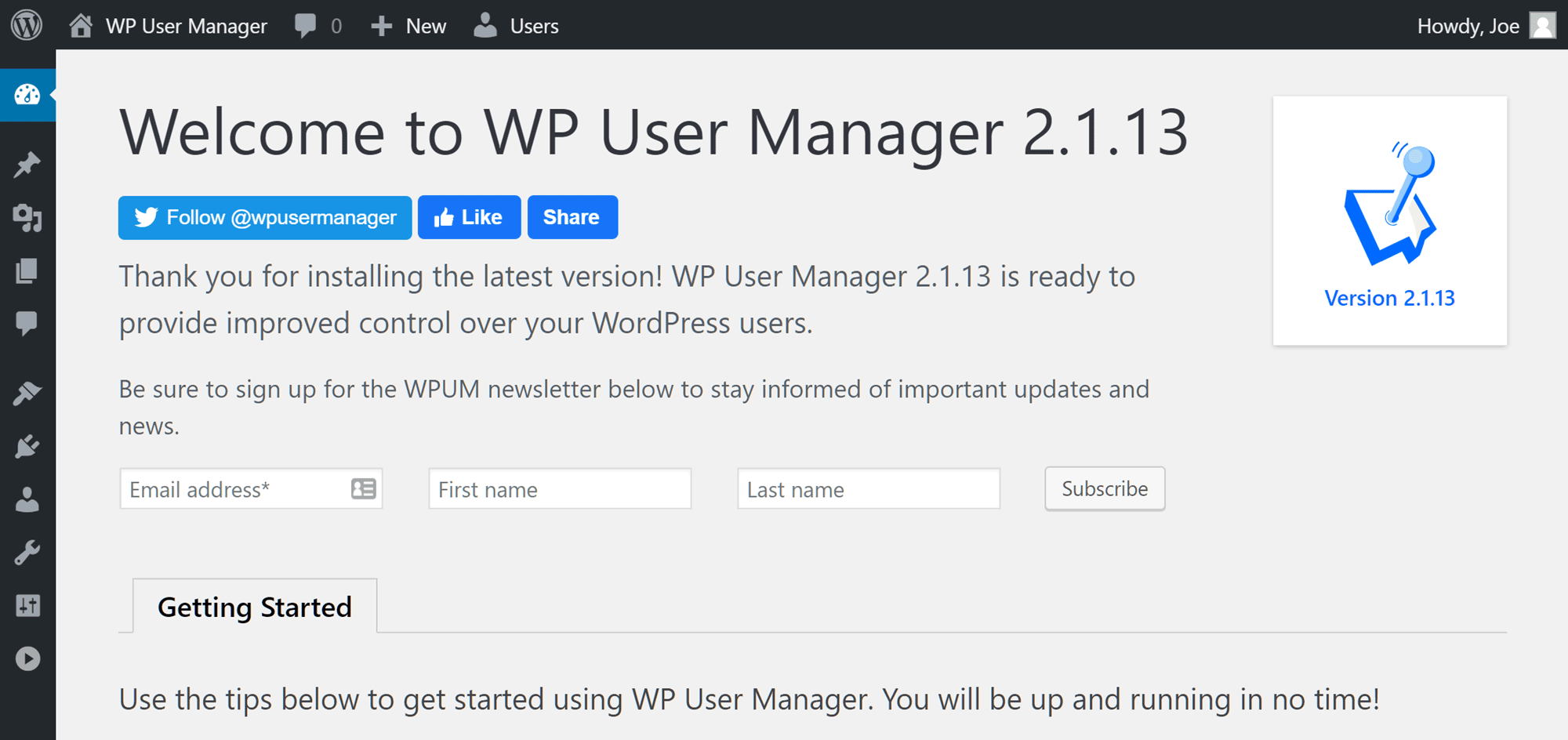 Welcome Screen for the WP User Manager plugin