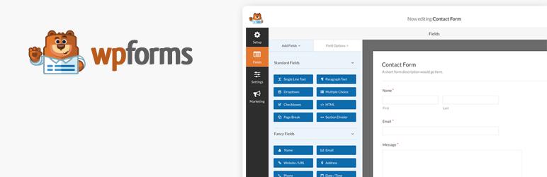 Plugin banner image for the wpForms WordPress contact form plugin