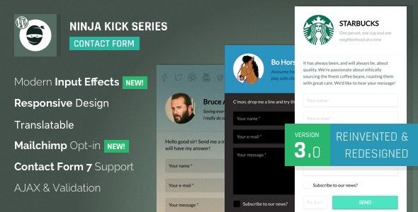 Plugin banner image for the Ninja Kick WordPress contact form plugin