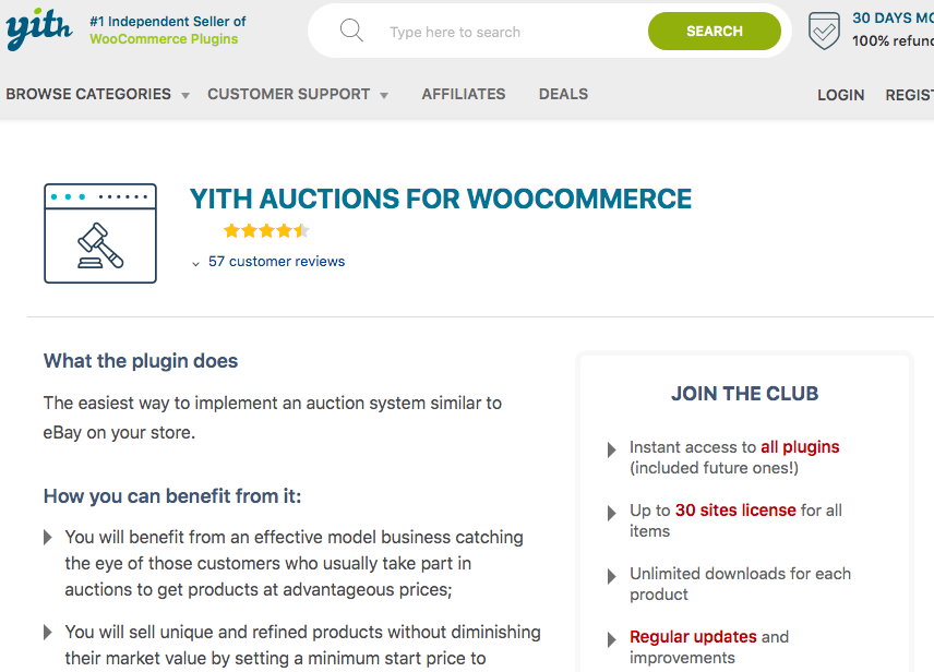 YITH Auctions WooCommerce plugin banner image