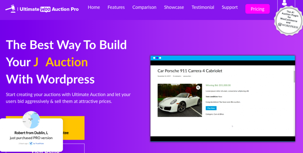 ultimate Auctions WordPress plugin banner image