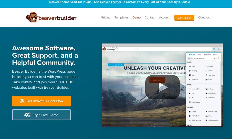 Beaver Builder WordPress page builder plugin banner