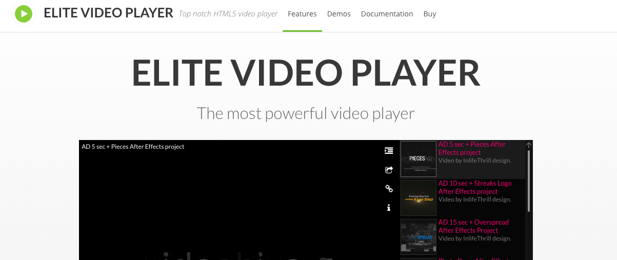 Elite video player banner image