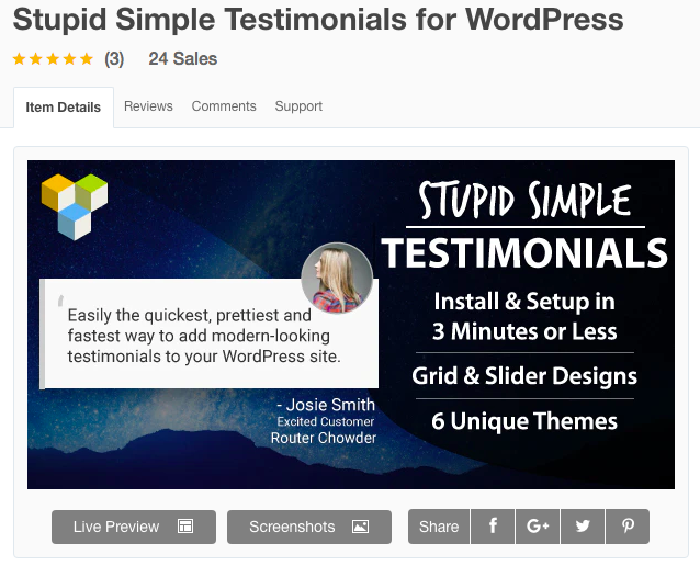 Stupid Simple Testimonials plugin banner image